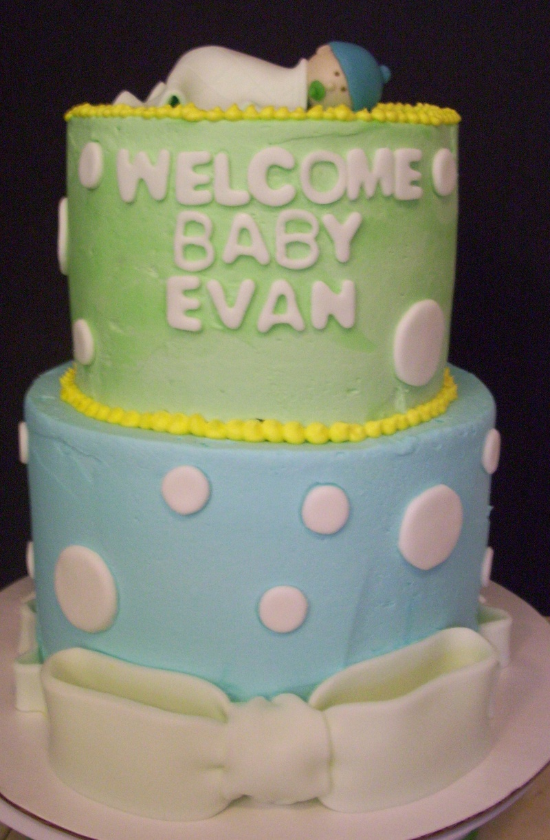 Blue And Yellow Baby Shower Tiered Cake