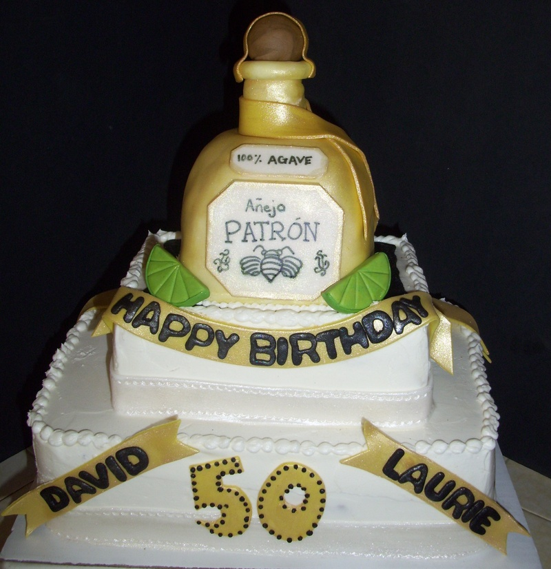 Enjoyable Patron Gold 50Th Birthday Cake Personalised Birthday Cards Veneteletsinfo
