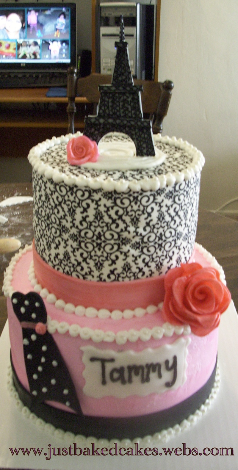 French Themed Eiffel Tower Wedding Shower Cake