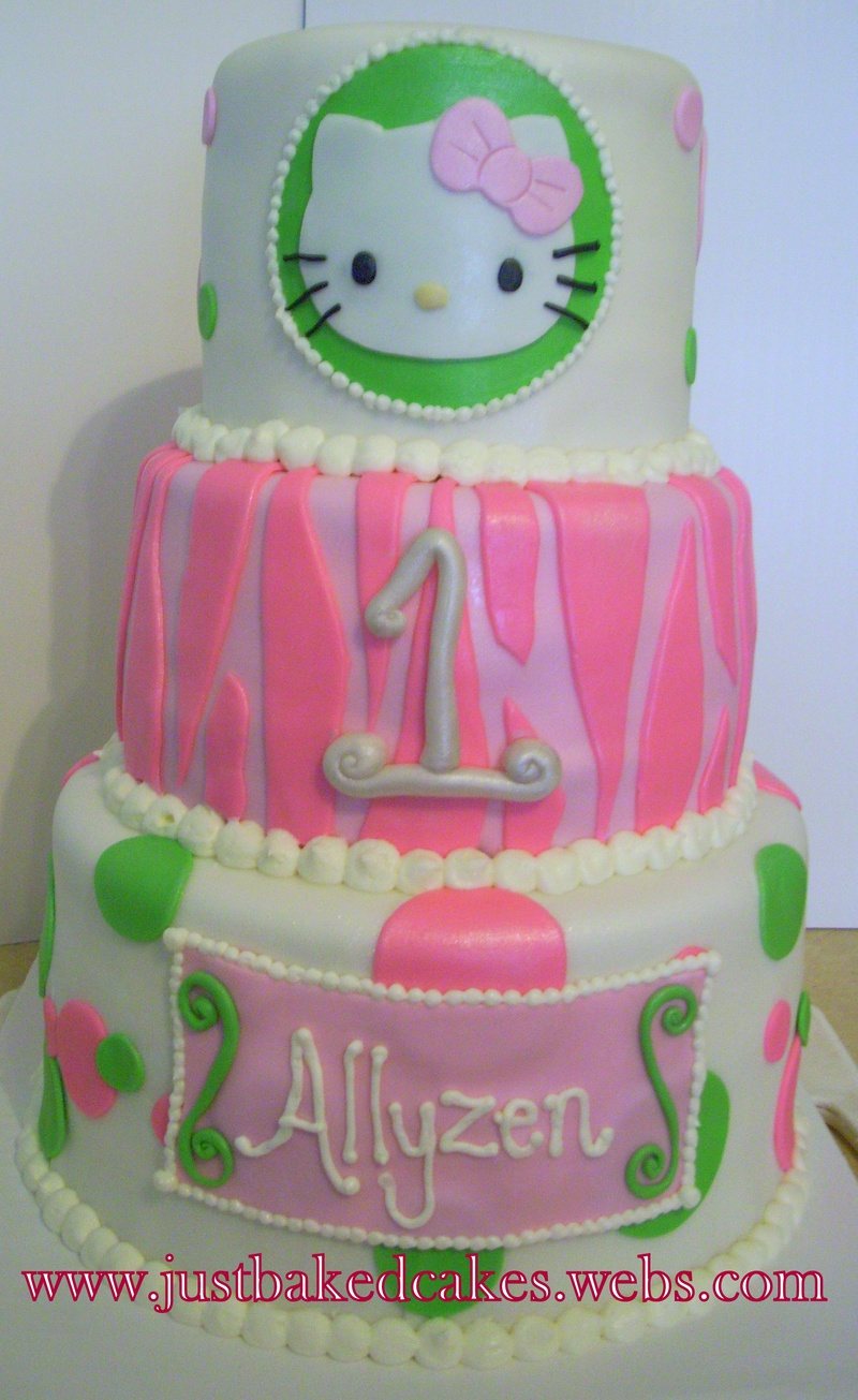 Pink and Green/ Zebra/Hello Kitty 1st Birthday Cake