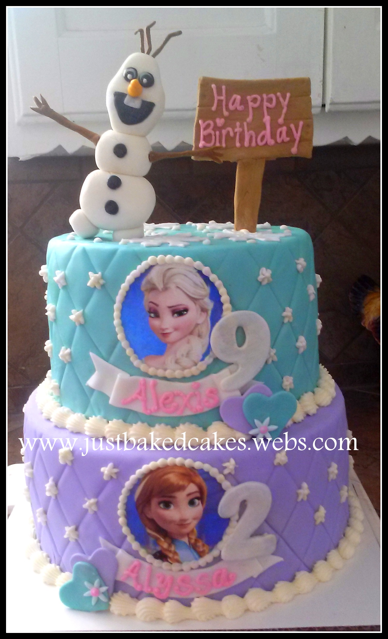 Frozen themed Elsa and Anna birthday cake