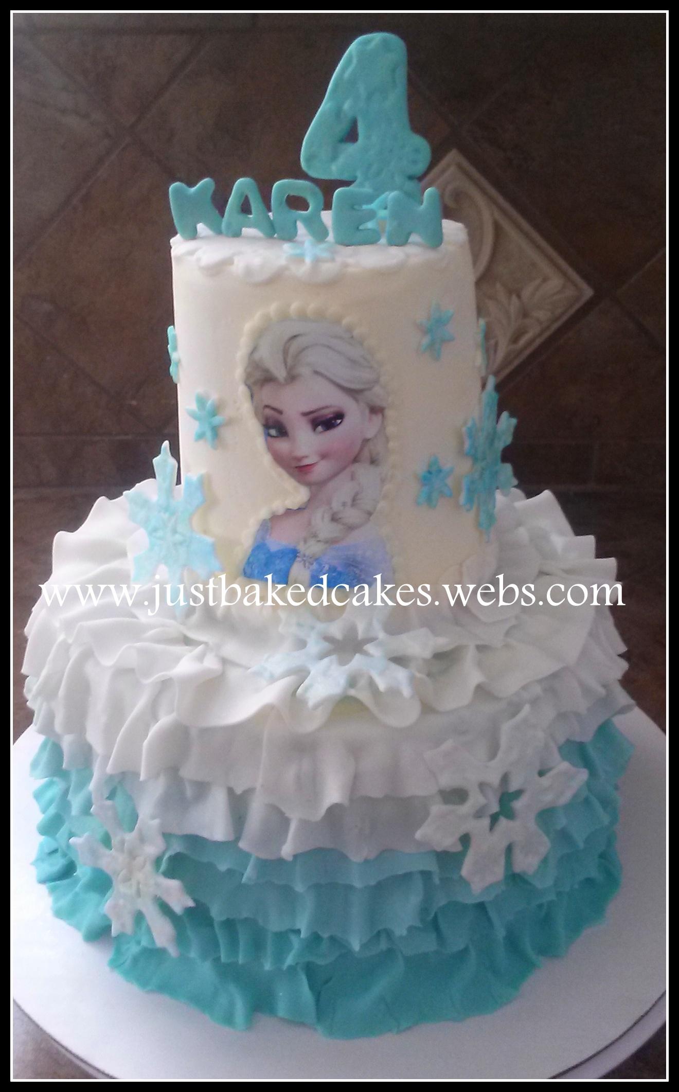 Frozen Themed Elsa Ruffles Birthday Cake