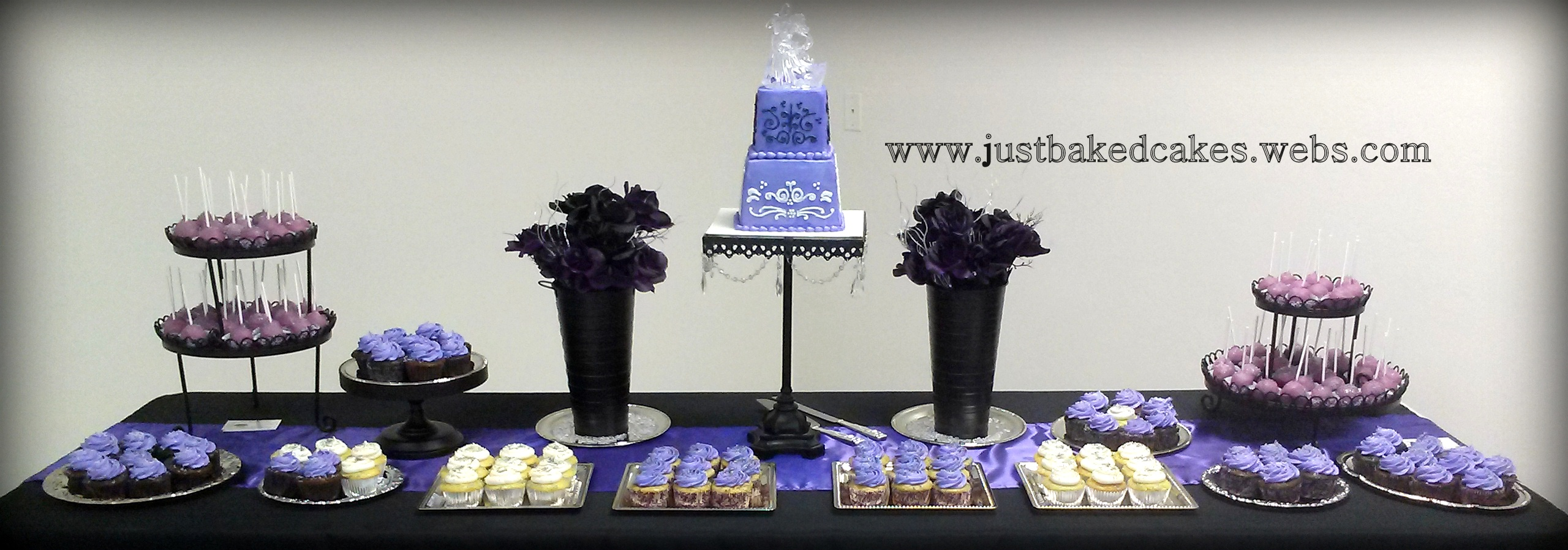 Purple themed wedding dessert table