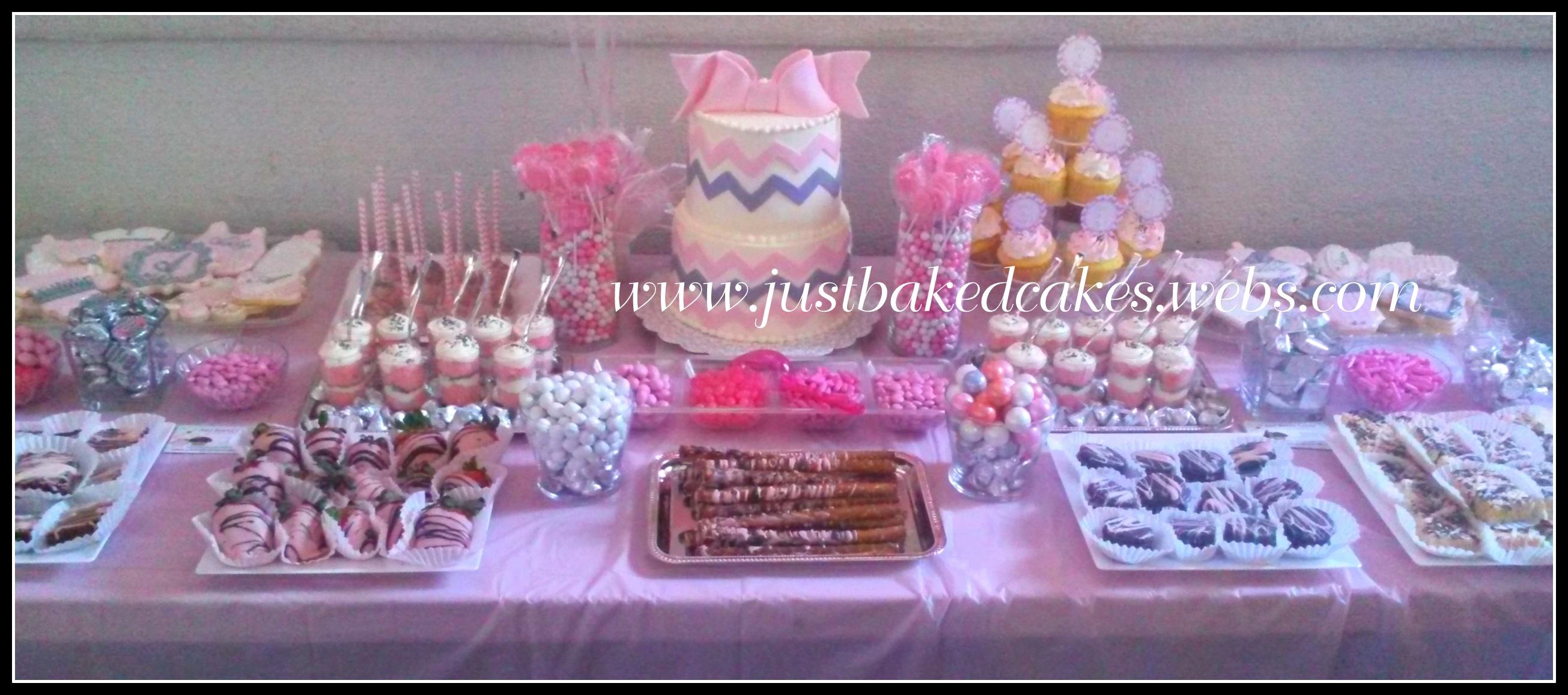 Pink baby shower dessrt table