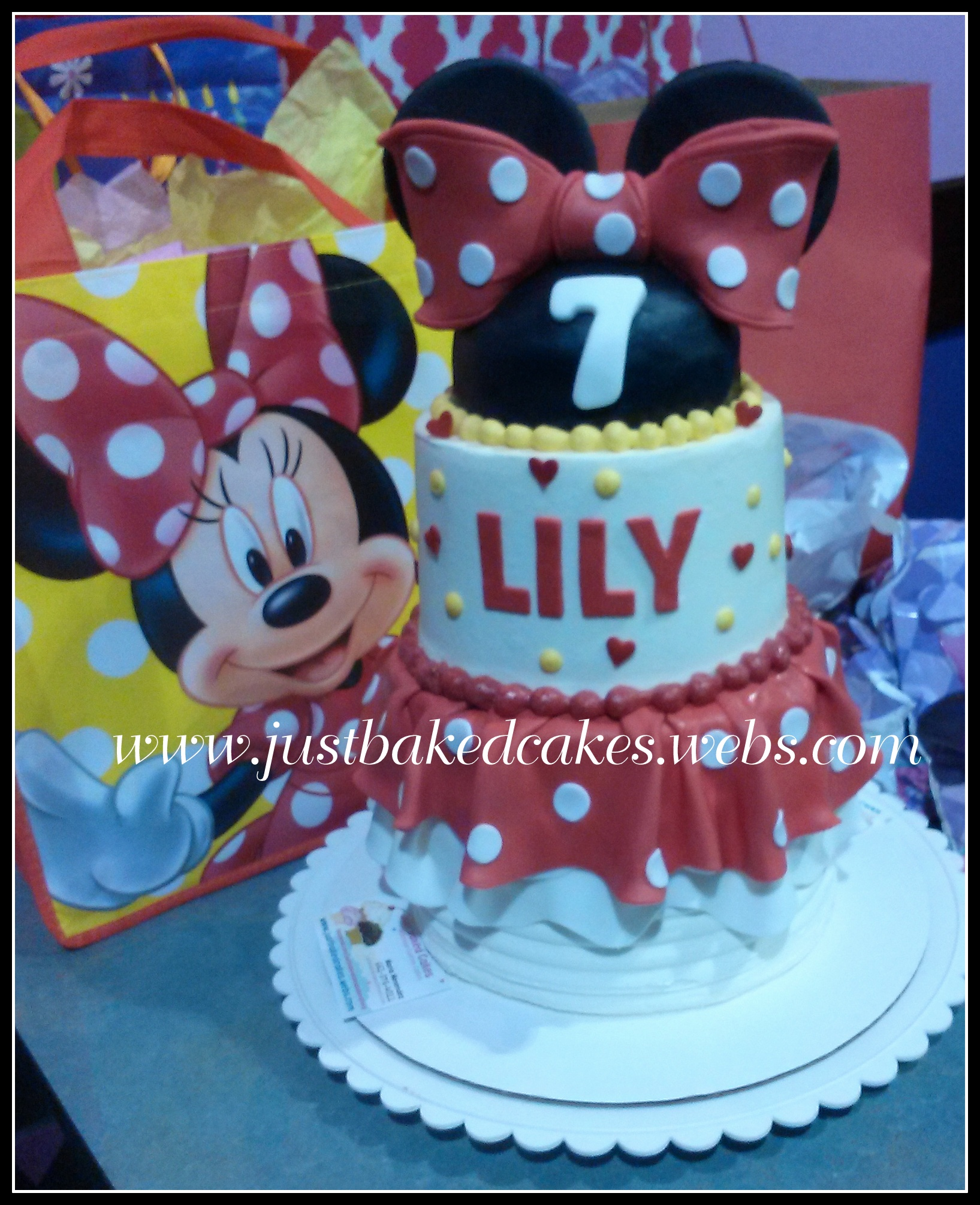 Minnie Mouse Red 3 Tier Birthday Cake