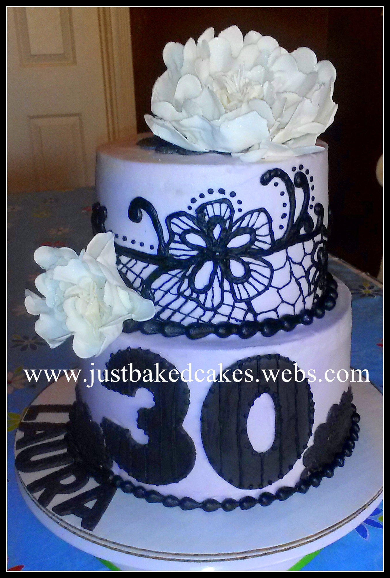 Lavender And Black Lace 30th Birthday Cake