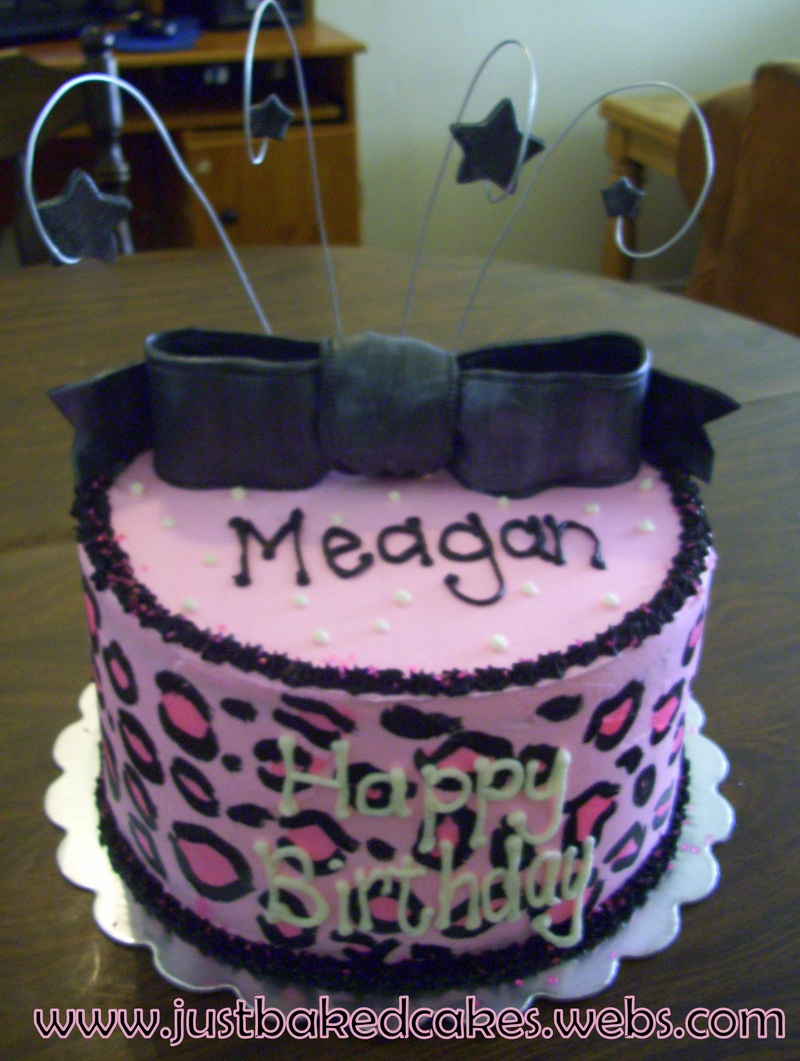 Pink And Black Cheetah Print Birthday Cake