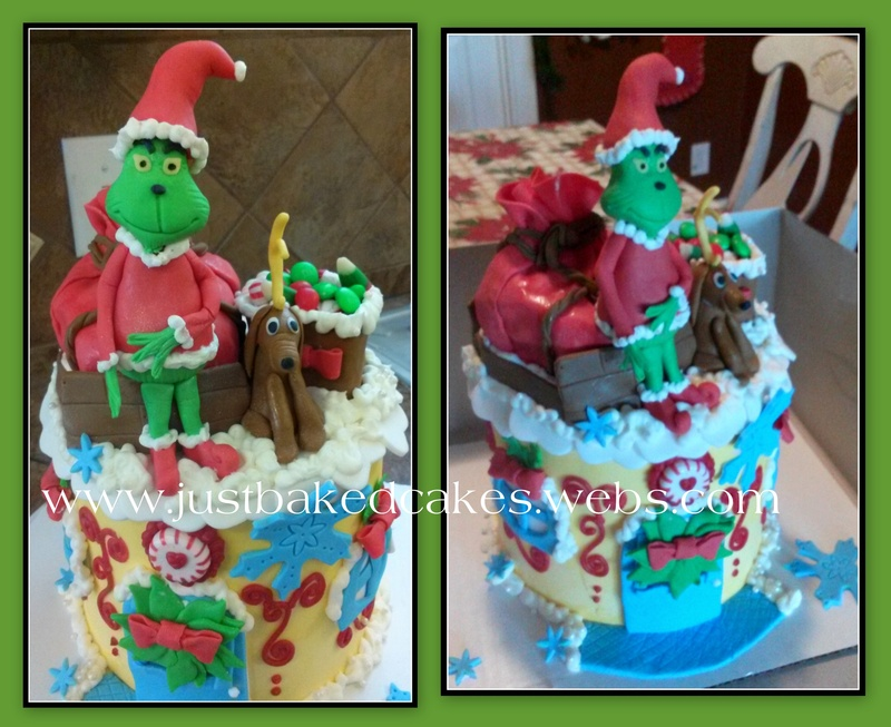 The Grinch who stole christmas shaped cake