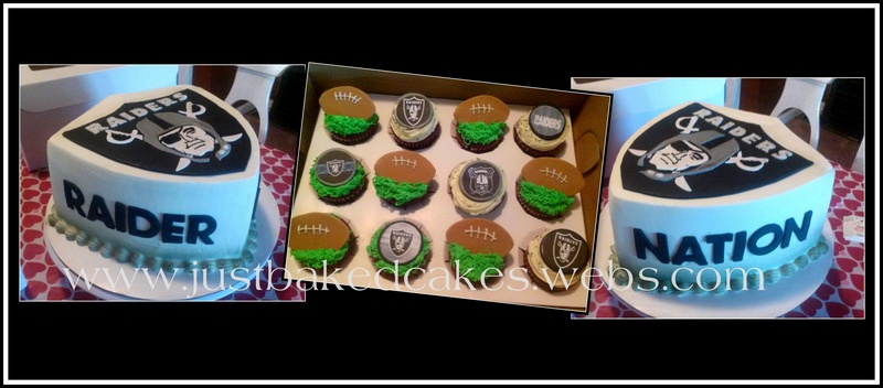 raiders themed cake and cupcakes