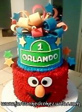 Sesame Street Elmo Themed Birthday Cake