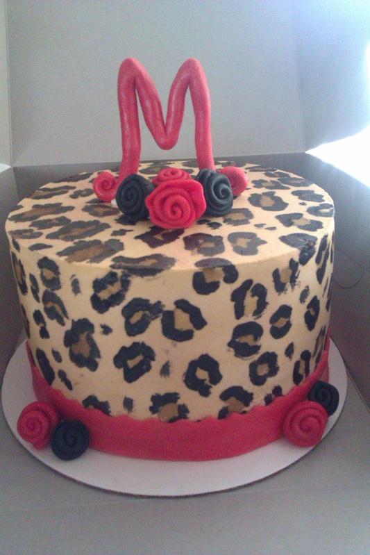 Cheetah Print Red Birthday Cake