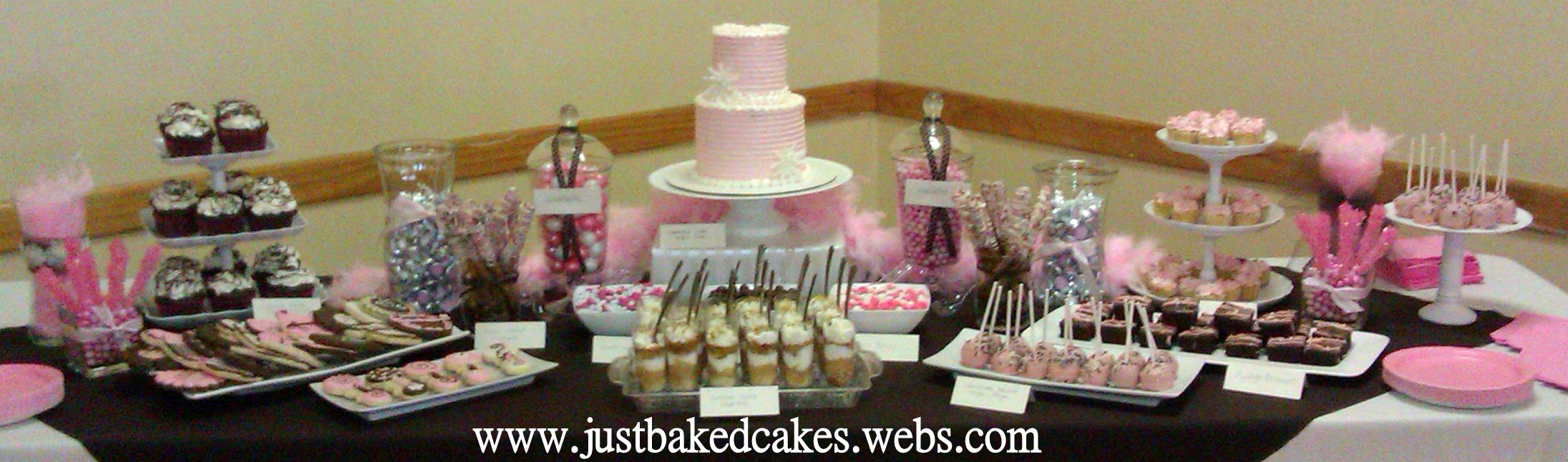 pink and brown baby shower dessert table
