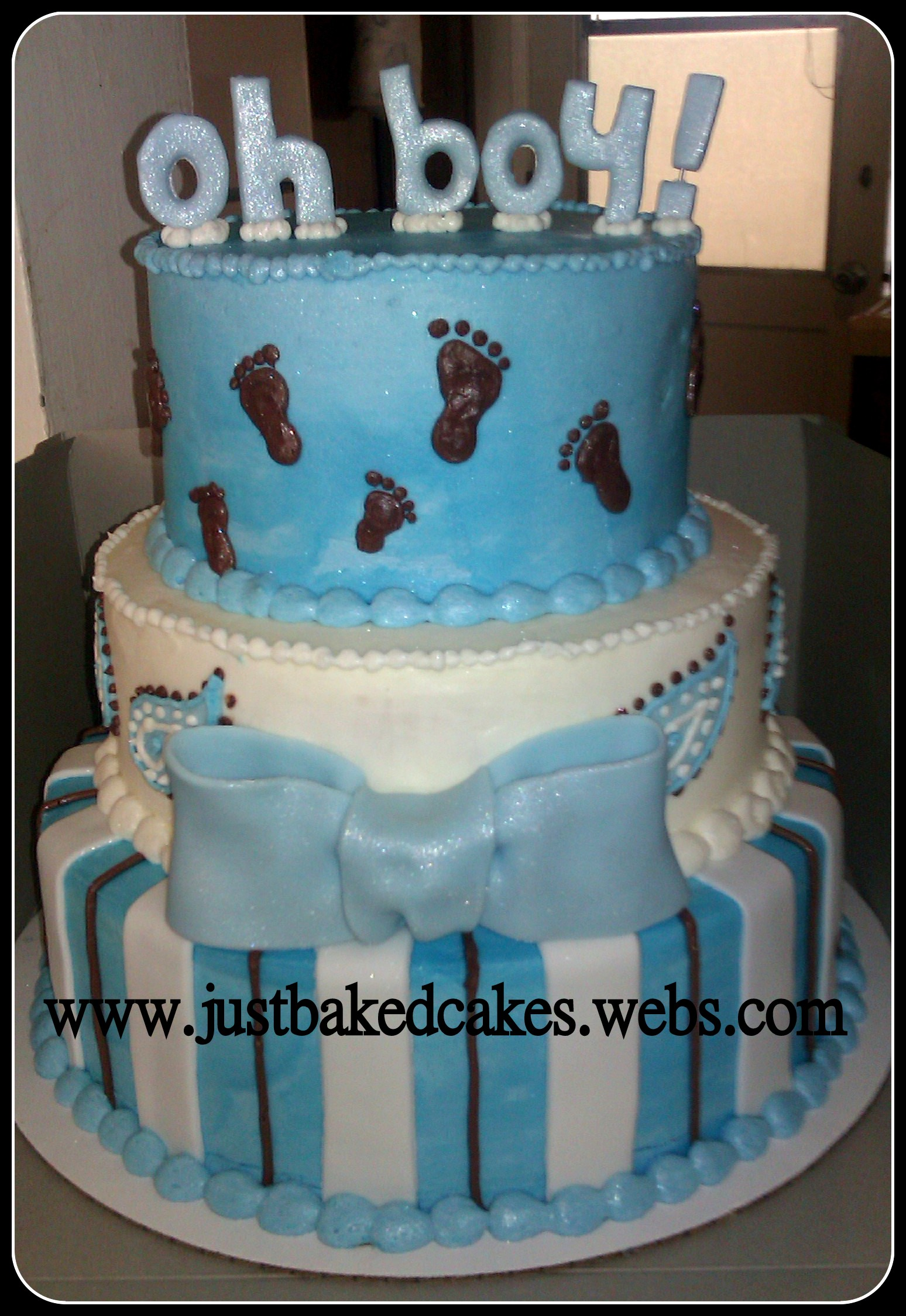 Baby Boy Blue Oh Boy Baby Feet Baby Shower Cake
