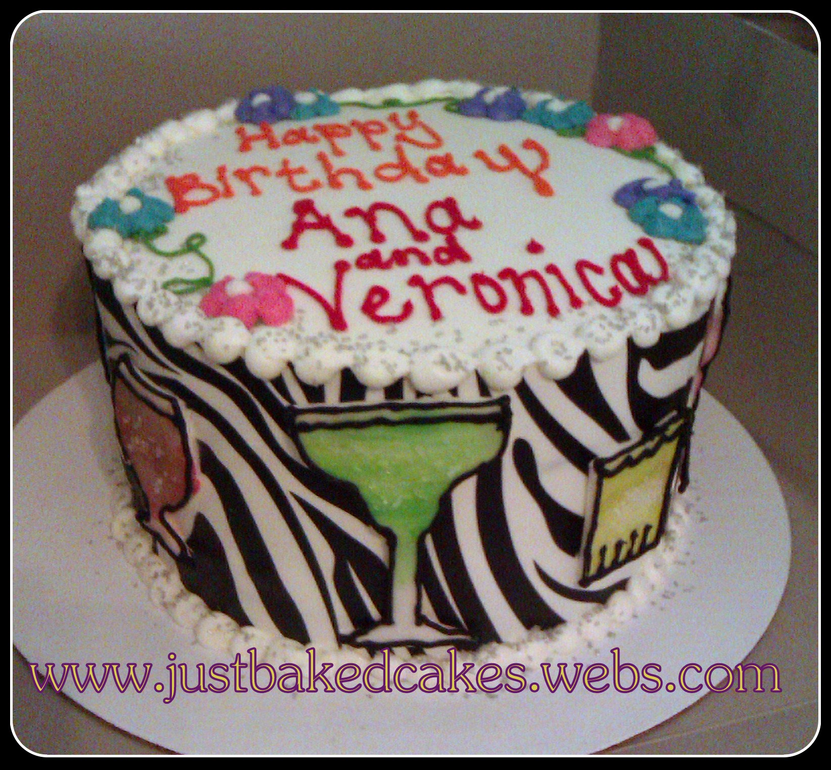 Zebra Cocktails Mixed Drinks Birthday Cake