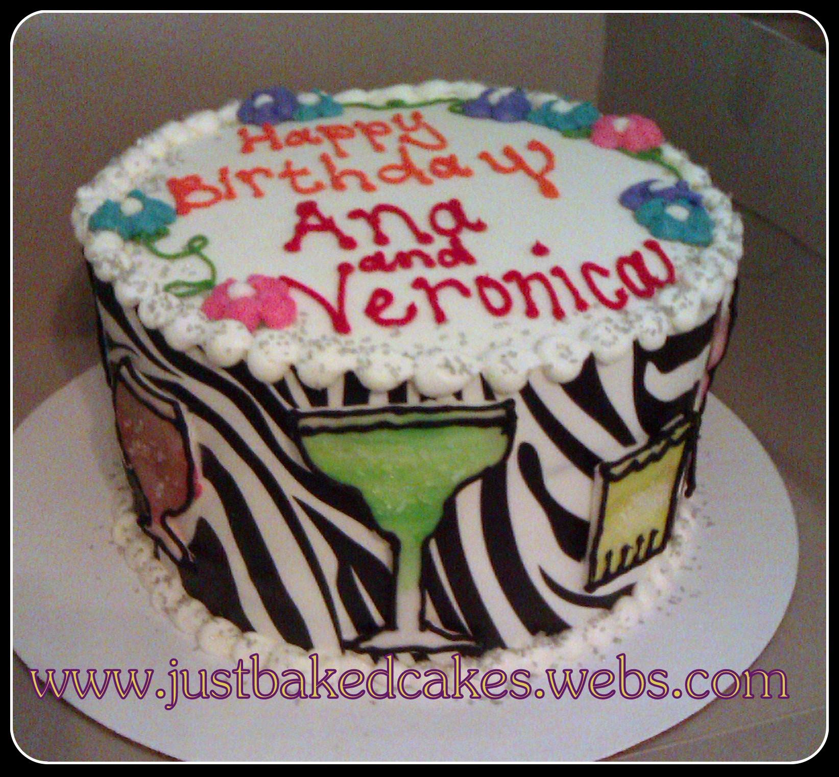 Zebra Cocktails Mixed Drinks Birthday Cake