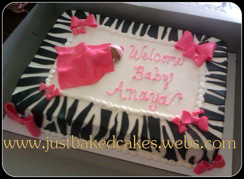 Zebra / Pink Baby Shower Cake