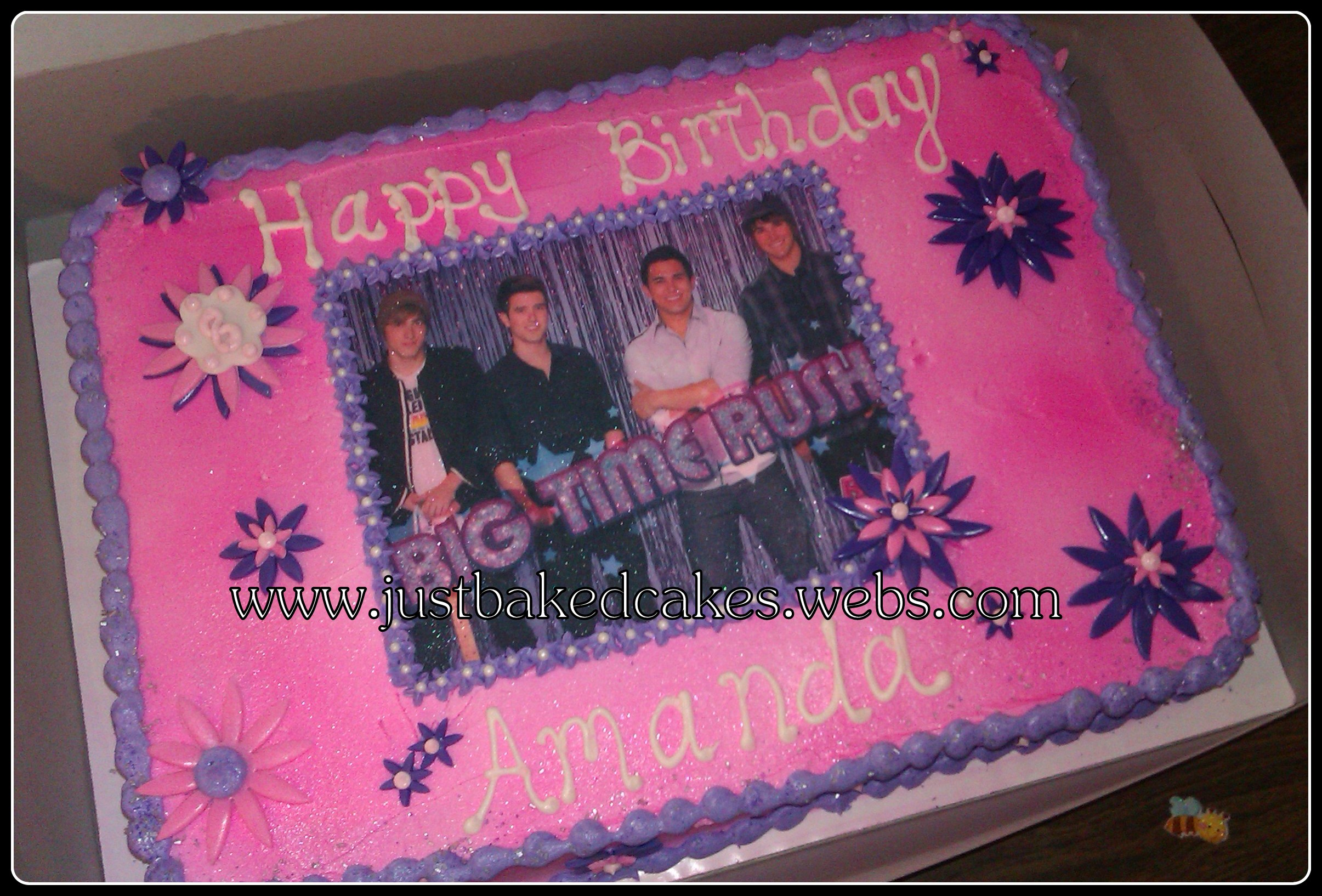 Big Time Rush Pink And Purple Birthday Cake