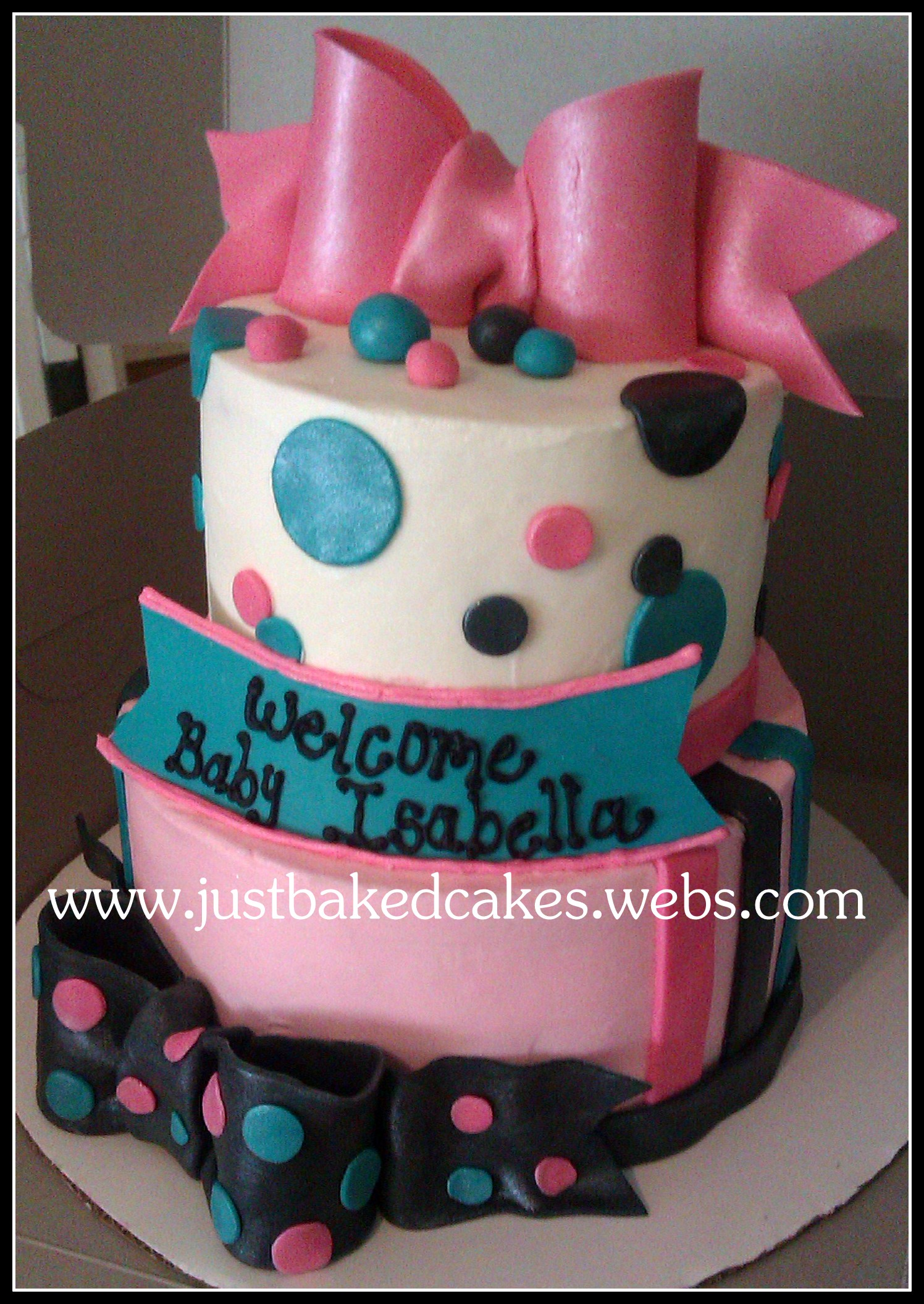 Pink Turquoise Black Baby Shower Cake