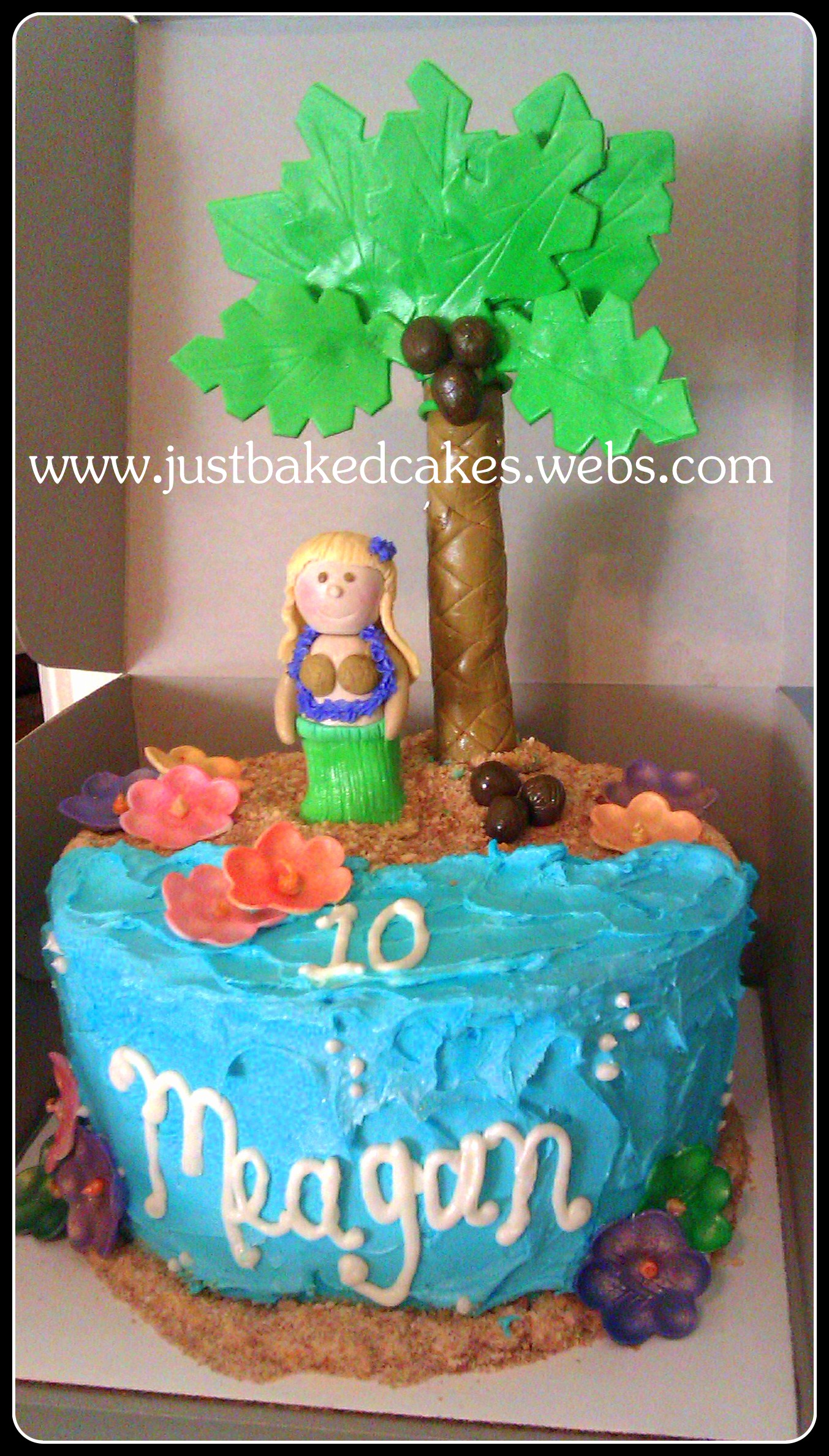 Luau Hula Girl Beach Theme Birthday Cake